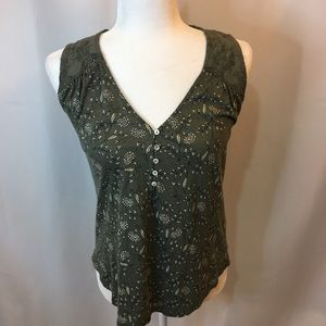 Lucky Brand Printed Tank top XS green floral